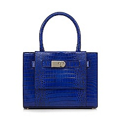 J by Jasper Conran - Bright blue leather mock croc grab bag