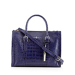 J by Jasper Conran - Designer navy leather mock croc grab bag