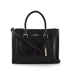 J by Jasper Conran - Designer black leather mock croc grab bag