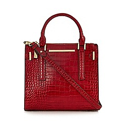 J by Jasper Conran - Red croc-effect double zip grab bag