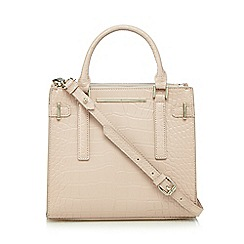 J by Jasper Conran - Light pink mock croc double zip grab bag