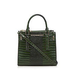 J by Jasper Conran - Green mock croc double zip grab bag
