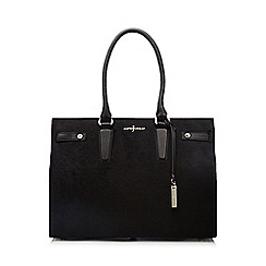 J by Jasper Conran - Black two compartment faux pony tote bag