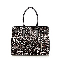 J by Jasper Conran - Brown leather faux pony leopard print tote bag
