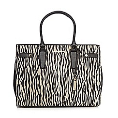 J by Jasper Conran - White double tab zebra print tote bag