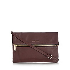 J by Jasper Conran - Dark red leather zip front cross body bag