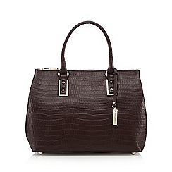 J by Jasper Conran - Dark red leather croc-effect square grab bag