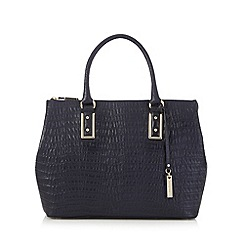 J by Jasper Conran - Navy leather croc-effect square grab bag