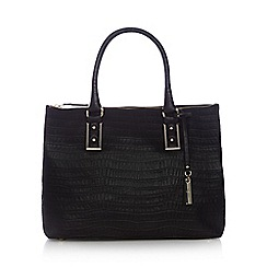 J by Jasper Conran - Black leather croc-effect square grab bag