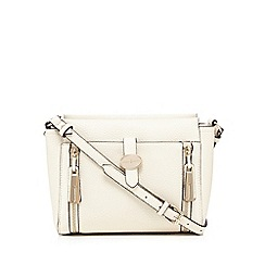 J by Jasper Conran - Cream front tab double zip cross body bag