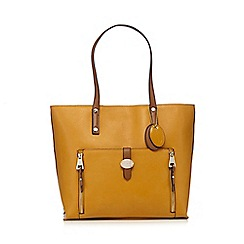 J by Jasper Conran - Dark yellow grained large shopper bag