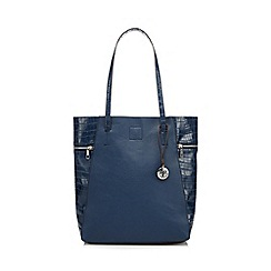 RJR.John Rocha - Designer navy zipped croc side shopper bag