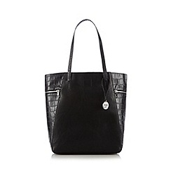 RJR.John Rocha - Designer black zipped croc side shopper bag