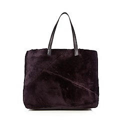 RJR.John Rocha - Purple leather faux fur shopper bag