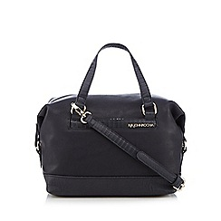 RJR.John Rocha - Navy animal print trim bowler bag