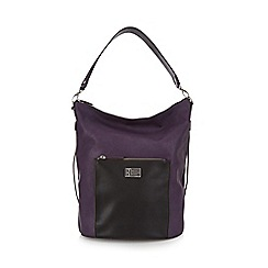 Betty Jackson.Black - Purple front pocket large hobo bag