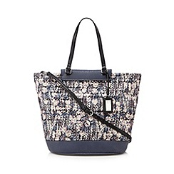 Betty Jackson.Black - Designer blue floral tweed tote bag