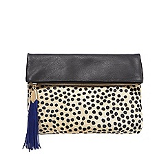 Betty Jackson.Black - Black leather dalmatian print clutch