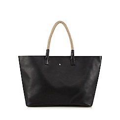 Betty Jackson.Black - Designer black soft leather rope tote bag