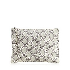 Betty Jackson.Black - Pale grey leather snakeskin-effect clutch bag