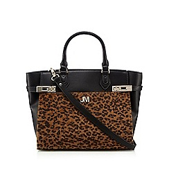 Star by Julien Macdonald - Black leopard pony winged tote bag