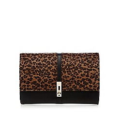 Star by Julien MacDonald - Black leopard pony clutch bag