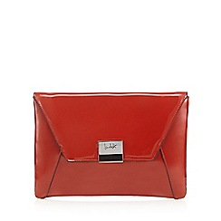 Principles by Ben de Lisi - Designer dark orange patent envelope clutch bag