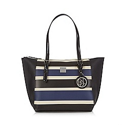 Principles by Ben de Lisi - Black striped winged shopper bag