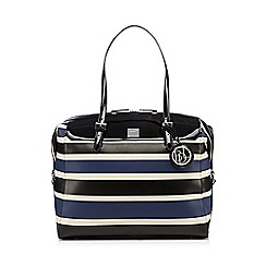 Principles by Ben de Lisi - Black patent striped weekender bag