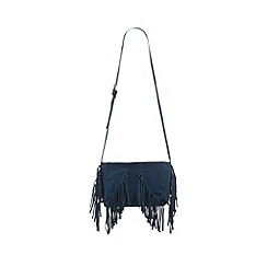 Butterfly by Matthew Williamson - Designer blue suede fringed cross body bag