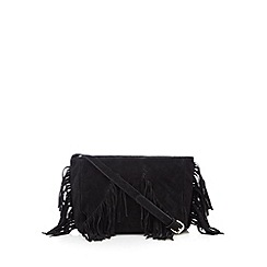 Butterfly by Matthew Williamson - Designer black leather fringe cross body bag