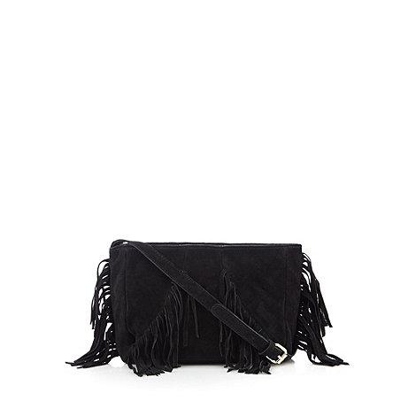 Butterfly by Matthew Williamson - Designer black leather fringe cross body bag