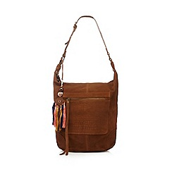 Butterfly by Matthew Williamson - Designer tan embossed suede hobo bag