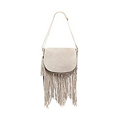 Butterfly by Matthew Williamson - Pale grey croc-effect cross body bag