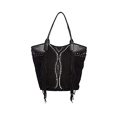 Butterfly by Matthew Williamson - Designer black suede studded and fringed shoulder bag