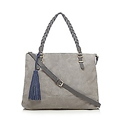 Butterfly by Matthew Williamson - Designer grey suede plaited handle shoulder bag