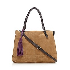 Butterfly by Matthew Williamson - Designer tan suede plaited handle shoulder bag