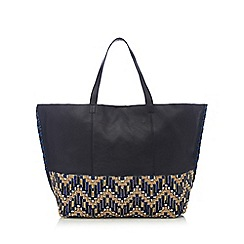 Butterfly by Matthew Williamson - Navy leather bead embellished trim shoulder bag