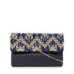 Butterfly by Matthew Williamson - Navy leather bead embellished cross body bag