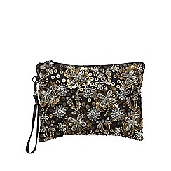 Butterfly by Matthew Williamson - Designer black beaded clutch bag