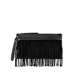 Nine by Savannah Miller - Black 'Sophie' leather fringed clutch bag