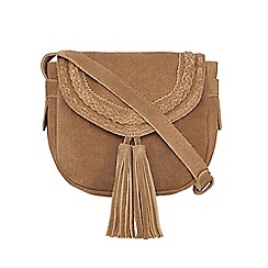 Nine by Savannah Miller - Tan 'Tori' suede cross body bag