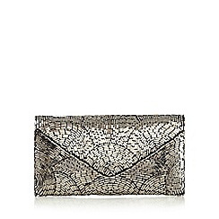 Nine by Savannah Miller - Silver 'Kari' beaded clutch bag