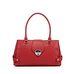 The Collection - Red triple compartment twist lock shoulder bag