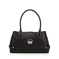 The Collection - Black triple compartment twist lock shoulder bag