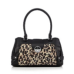 The Collection - Black leopard twist lock shoulder bag