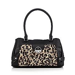 The Collection - Black leopard twist lock shoulder bag