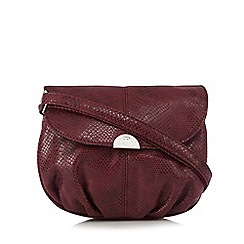 The Collection - Maroon snakeskin effect pouch cross body bag