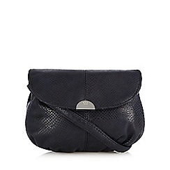 The Collection - Navy snakeskin effect pouch cross body bag