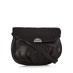 The Collection - Black snakeskin effect pouch cross body bag